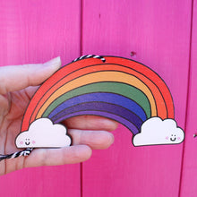 Load image into Gallery viewer, Hanging wooden rainbow by Laura Lee Designs Cornwall