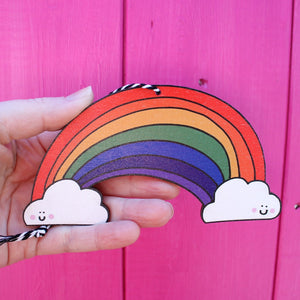 Hanging wooden rainbow by Laura Lee Designs Cornwall