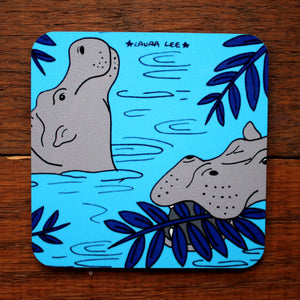 Cute hippos in water coaster by Laura Lee Designs Cornwall Heat proof colourful homewares