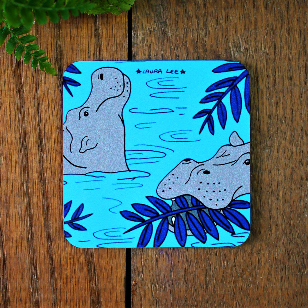 Hippo coaster in blue Laura Lee designs Cornwall