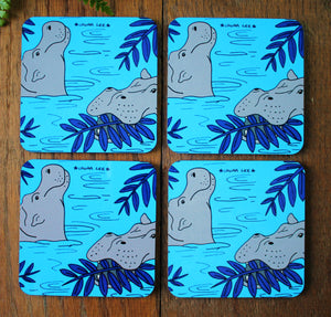 Hippo coaster by Laura Lee designs Cornwall Colourful gifts and homewares