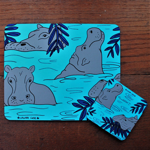 Hippo placemat and coaster set by Laura Lee Designs