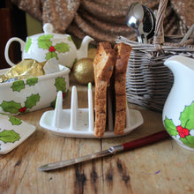 Load image into Gallery viewer, Hand painted Holly toast rack filled with toast
