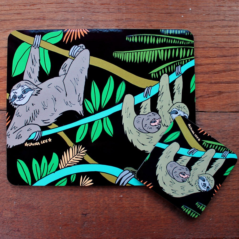Sloth placemat and coaster gift set by Laura Lee Designs Cornwall