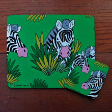 Load image into Gallery viewer, zebra placemat and coaster set by Laura Lee Designs Cornwall