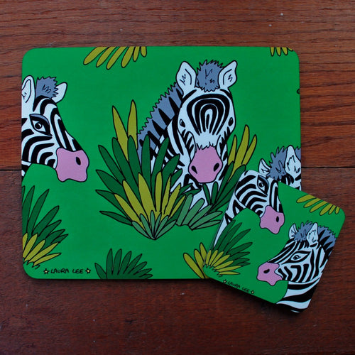 zebra placemat and coaster set by Laura Lee Designs Cornwall