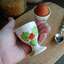 Load image into Gallery viewer, Hand painted holly egg cup by Laura Lee Designs Cornwall