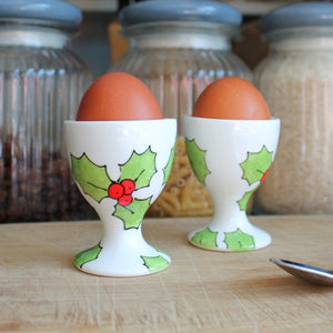 Hand painted Holly Egg cup by Laura Lee designs Cornwall