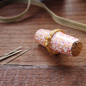 Gold holly needle case sewing needle storage by Laura Lee Designs Cornwall