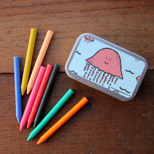 Jellyfish crayon tin by Laura lee Designs in Cornwall