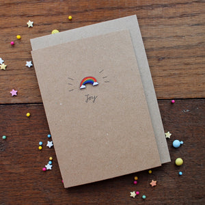 Rainbow joy card with wooden rainbow by Laura Lee Designs