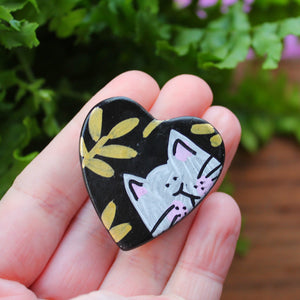 Black heart with gold ferns and a white cat magnet by Laura Lee Designs