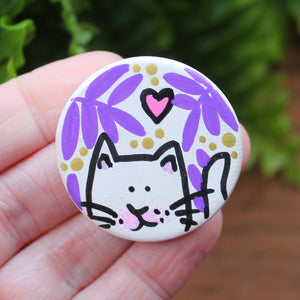 Purple ferns white cat magnet by Laura Lee