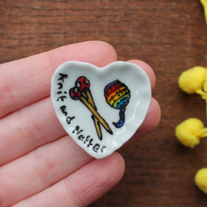 Knit and natter miniature heart shapped plate with rainbow knitting yarn and spotty knitting needles hand painted by Laura Lee Designs in Cornwall