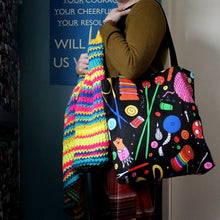 Load image into Gallery viewer, Black rainbow luxury tote colourful craft storage from UK designer Laura Lee