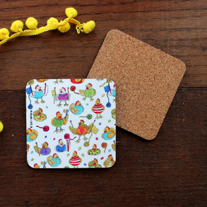 Knitting chickens coaster funny homewares by Laura Lee Designs