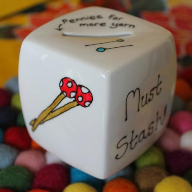 Must stash knitters money box hand painted china by Laura Lee Designs