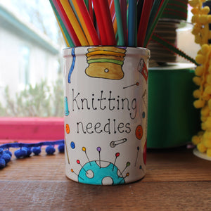Colourful knitting needle storage by Laura lee designs Cornwall