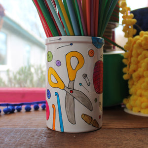 Colourful knitting needle storage jar by Laura Lee Designs
