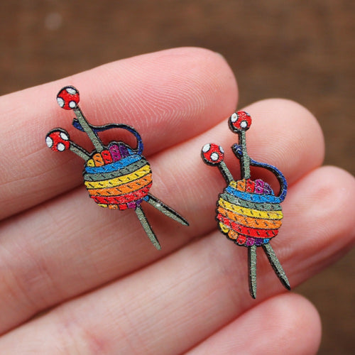 Rainbow knitters yarn earrings by Laura Lee Designs