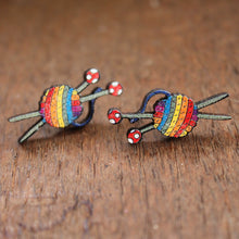 Load image into Gallery viewer, Rainbow knitters yarn earrings by Laura Lee Designs