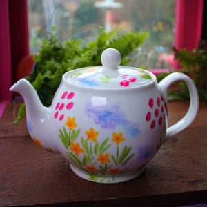 Colourful meadow flowers teapot hand painted china tea sets by Laura Lee Designs Cornwall
