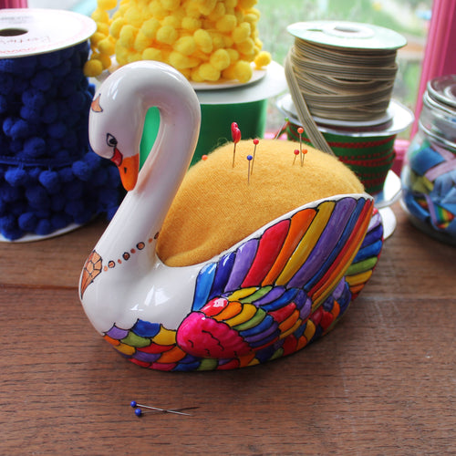 Rainbow swan pin cushion hand painted china swan by Laura Lee Designs Cornwall