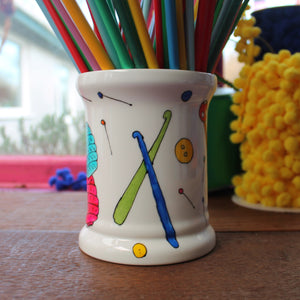 Lifes short knitting needle storage jar by Laura Lee designs