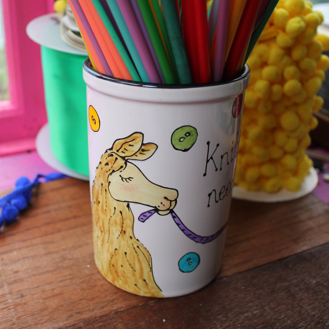 Llama knitting needle storage pot fun craft storage by Laura Lee Designs