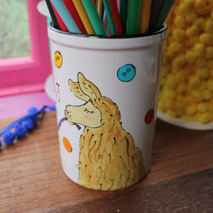 Cute llama knitting needle storage jar