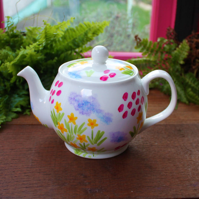 Meadow flowers hand painted teapot fine china by Laura Lee Designs in Cornwall
