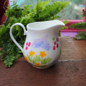 Hand painted floral jug by Laura Lee Designs Cornwall