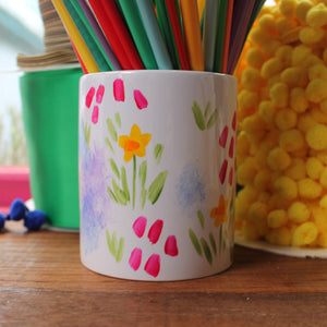 Pretty floral storage jar for crochet and knitting by Laura Lee Designs hand painted in Cornwall