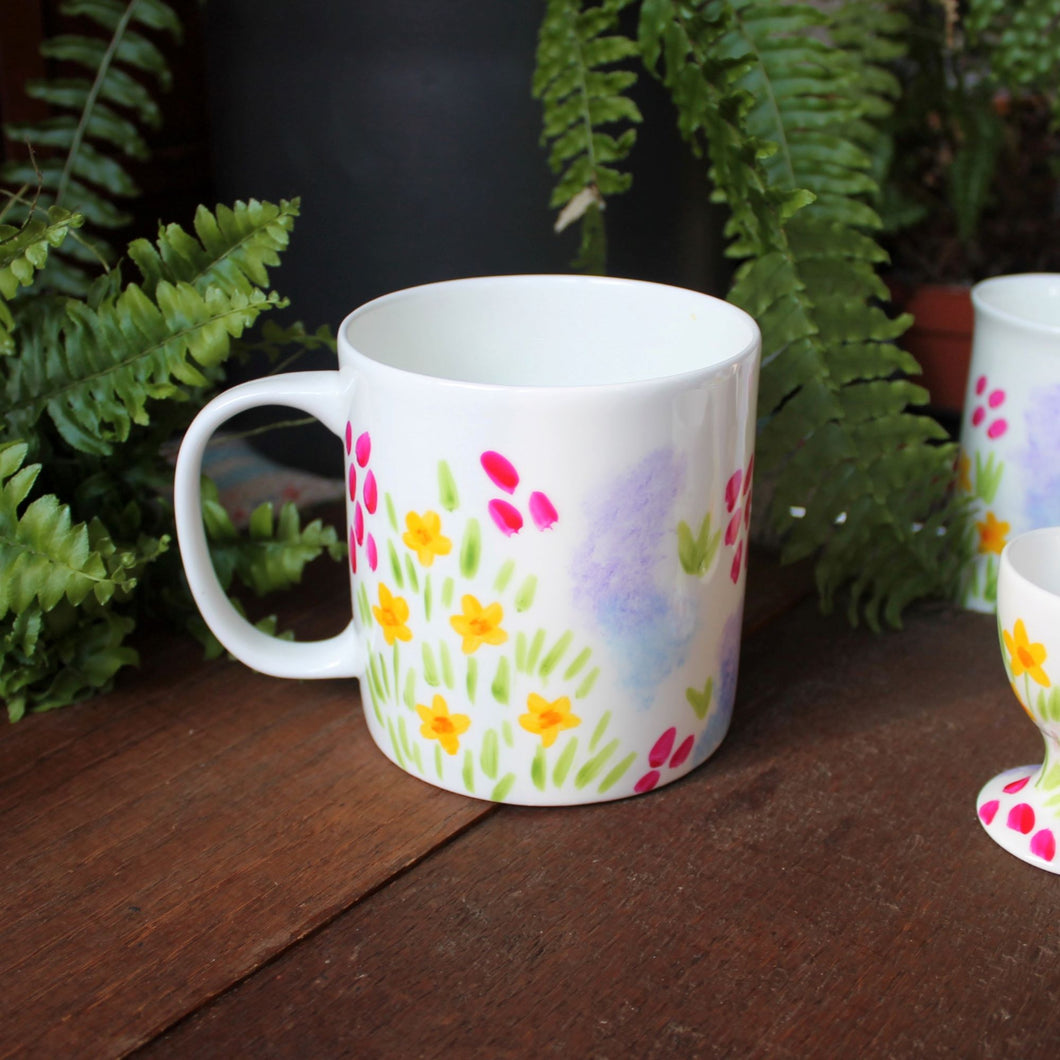 Hand painted flowers on big mug by Laura Lee Designs Cornwall