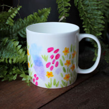 Load image into Gallery viewer, Jumbo sized pretty floral mug by Laura Lee Designs Cornwall