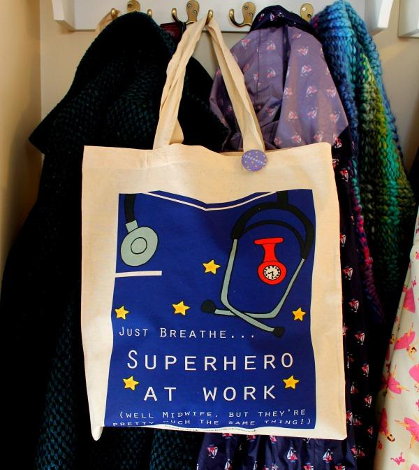 Funny midwife superhero bag by Laura Lee Designs Cornwall