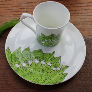 Lily of The Valley Plate and Mug Set - Fine China - Hand Painted