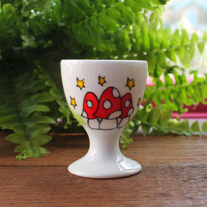 Mushroom egg cup hand painted with colourful toadstools breakfast sets by Laura Lee designs