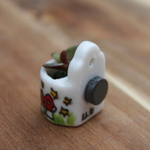 Load image into Gallery viewer, Miniature fridge planter cute succulent pot hand painted by Laura Lee