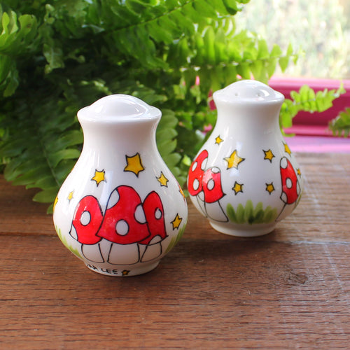 Mushroom salt and pepper set Laura Lee Designs