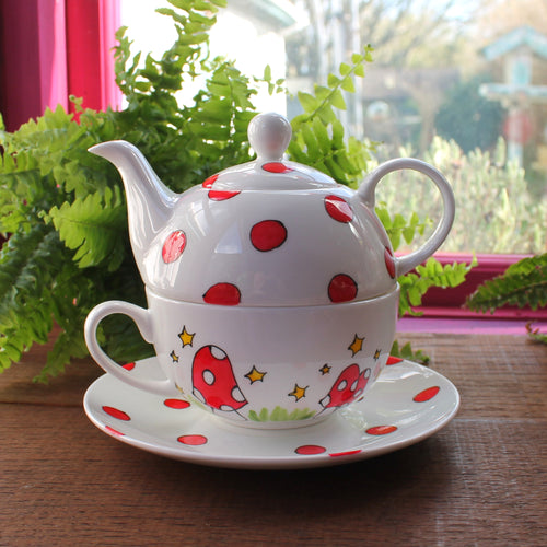 Mushroom tea for one set stacking teapot and teacup by Laura Lee Designs
