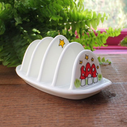 Toadstool toast rack hand painted china breakfast crockery by Laura Lee Designs