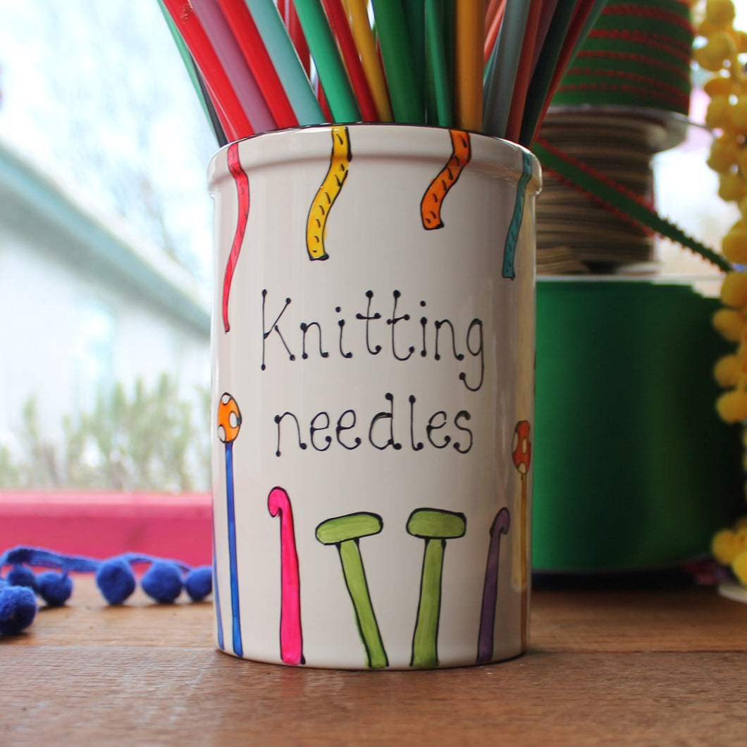 Knitting needles storage jar hand painted in colourful knitting needles and yarn