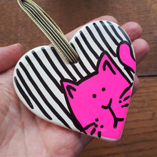 Load image into Gallery viewer, Pink neon cat heart by Laura Lee Designs