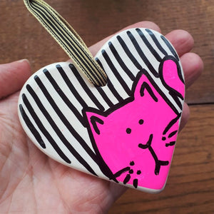 Pink neon cat heart by Laura Lee Designs