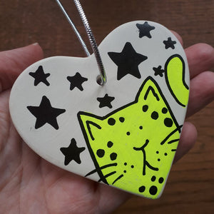 Neon yellow kitty heart with stars