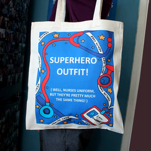 Superhero outfit nurses bag funny nurse's gift by Laura lee Designs Cornwall