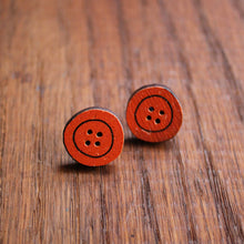 Load image into Gallery viewer, Orange wooden button studs by Laura Lee Designs