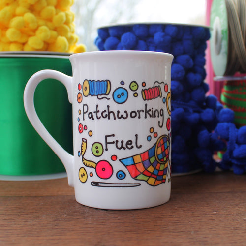 Patchworking fuel fine china mug by Laura Lee Designs Cornwall