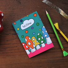Load image into Gallery viewer, Personalised toadstool notebook by Laura Lee Designs Rainbow mushrooms